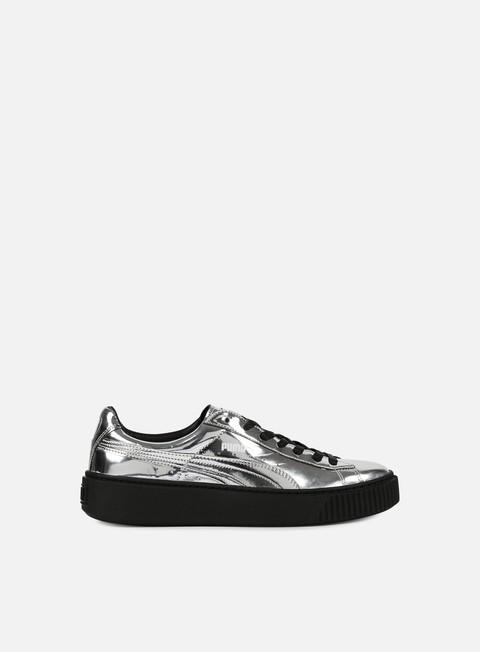 sneakers puma wmns basket platform metallic silver silver puma black