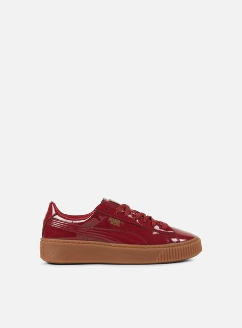 sneakers puma wmns basket platform patent tibetan red tibetan red