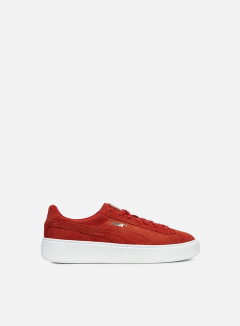 sneakers puma wmns suede platform barbados cherry cherry white