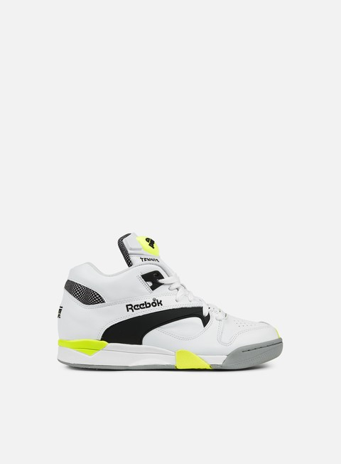 sneakers reebok court victory pump white black solar yellow