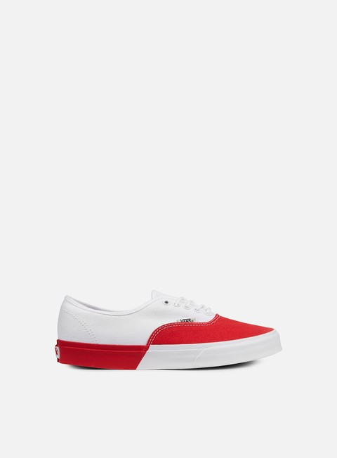 sneakers vans authentic dx blocked true white racing red