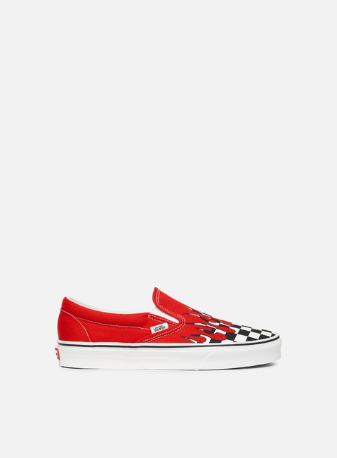 sneakers vans classic slip on checker flame racing red true white