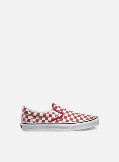 sneakers vans classic slip on checkerboard rhubarb white