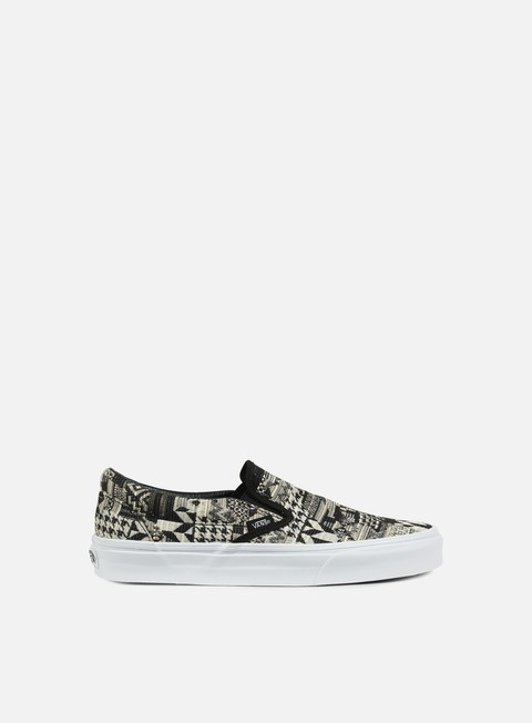 sneakers vans classic slip on italian weave white black