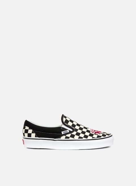sneakers vans classic slip on satin patchwork checker rose