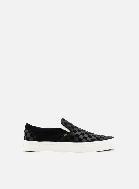 sneakers vans classic slip on suede checker emboss black marshmallow