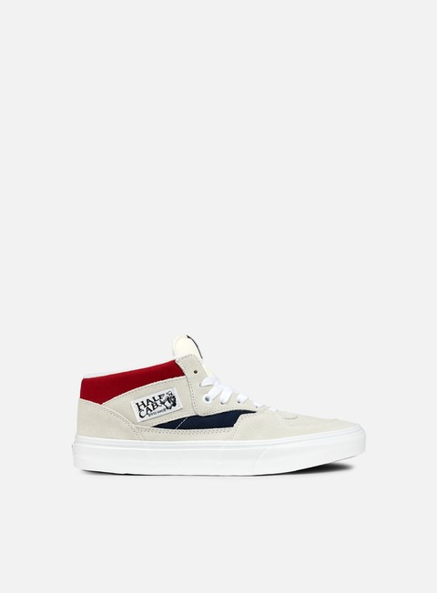 sneakers vans half cab retro block white red dress blues