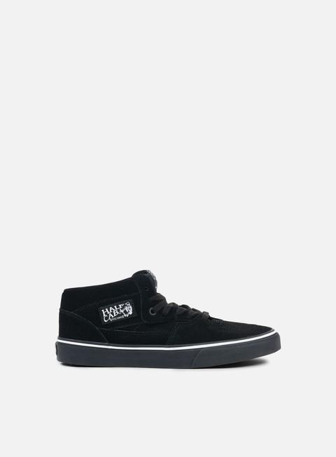 sneakers vans half cab suede black white black