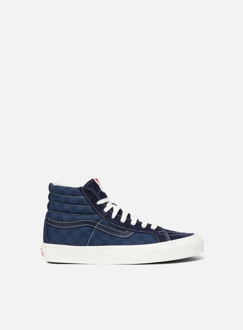 sneakers vans og sk8 hi lx suede canvas checkerboard blue