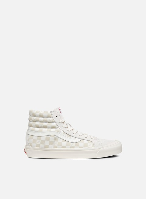 sneakers vans og sk8 hi lx suede canvas checkerboard white