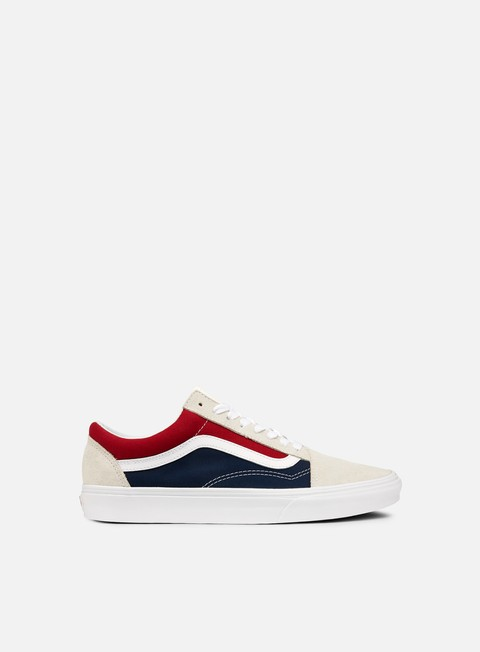 sneakers vans old skool retro block white red dress blues