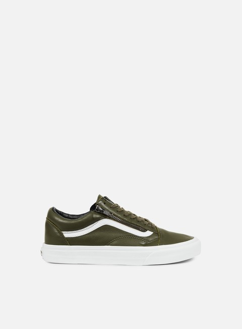 sneakers vans old skool zip antique leather ivy green