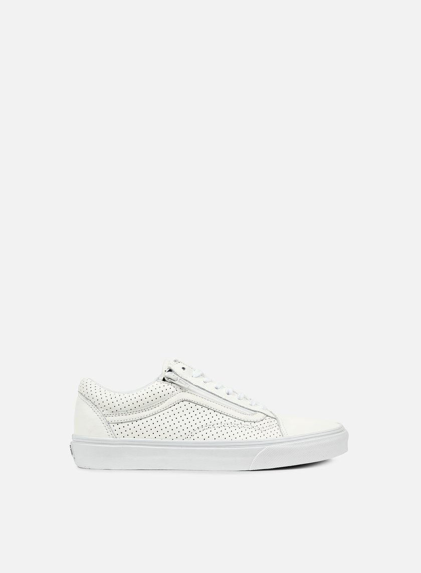 vans old skool white leather zip