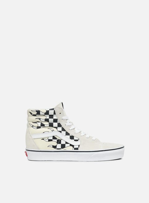 sneakers vans sk8 hi checker flame classic white true white