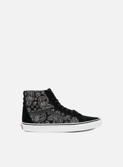 sneakers vans sk8 hi reissue bandana stitch black true white
