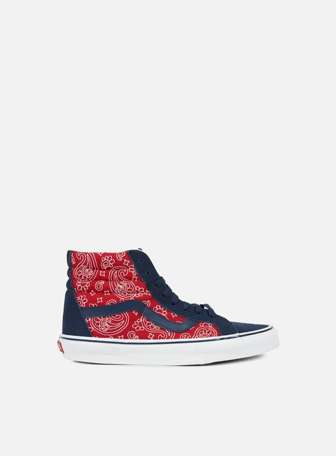 sneakers vans sk8 hi reissue bandana stitch dress blues chili pepper