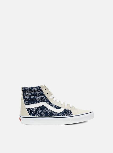 sneakers vans sk8 hi reissue bandana stitch white dress blues