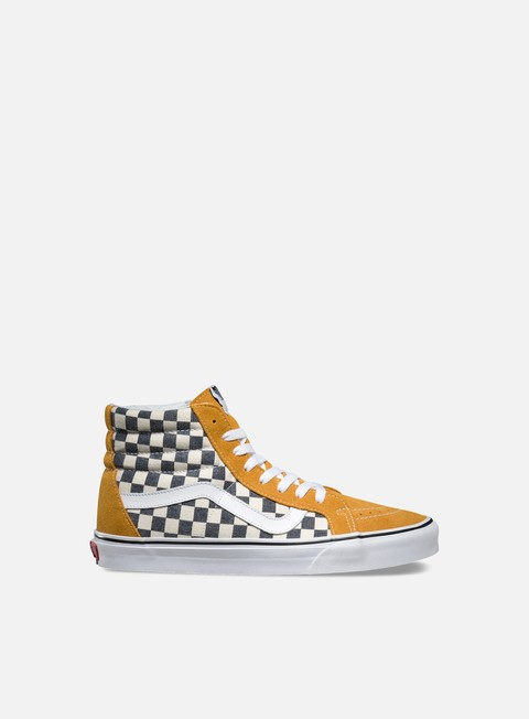 sneakers vans sk8 hi reissue checkerboard spruce yellow navy