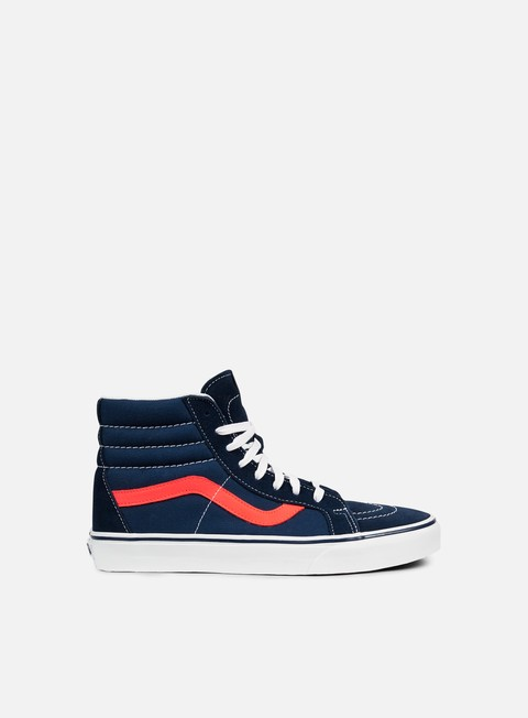 sneakers vans sk8 hi reissue neon leather dress blue