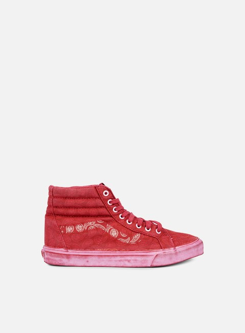 sneakers vans sk8 hi reissue overwash paisley red