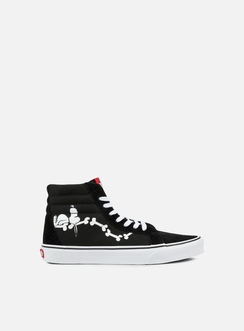 sneakers vans sk8 hi reissue peanuts snoopy bones black