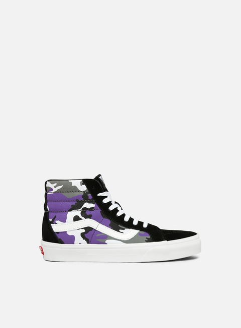 sneakers vans sk8 hi reissue pop camo black heliotrope true white