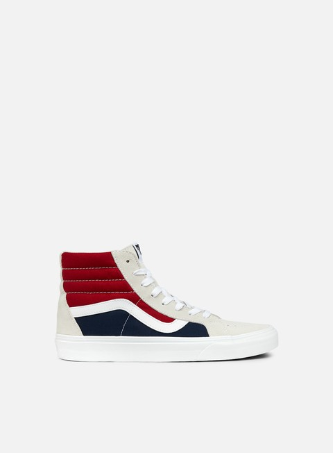 sneakers vans sk8 hi reissue retro block white red dress blues