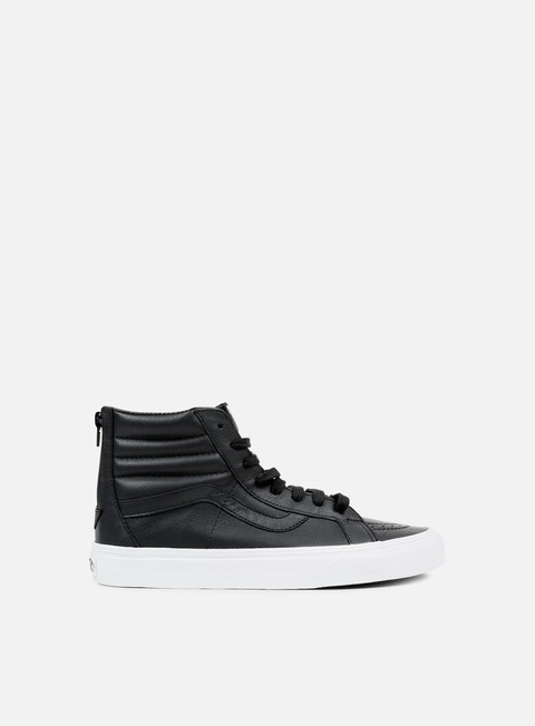 sneakers vans sk8 hi reissue zip premium leather black true white