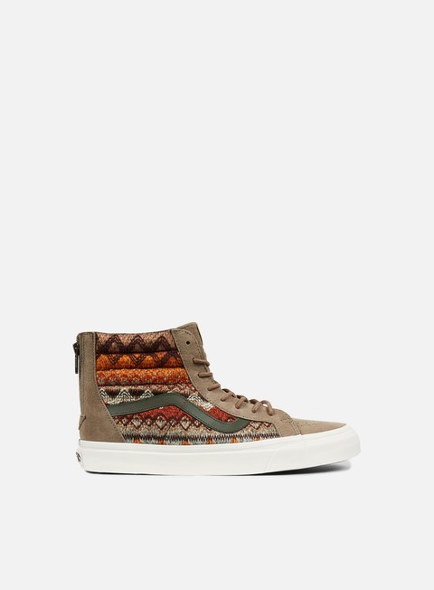 sneakers vans sk8 hi reissue zip suede knit walnut