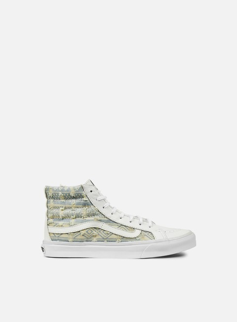 sneakers vans wmns sk8 hi slim frayed native true white