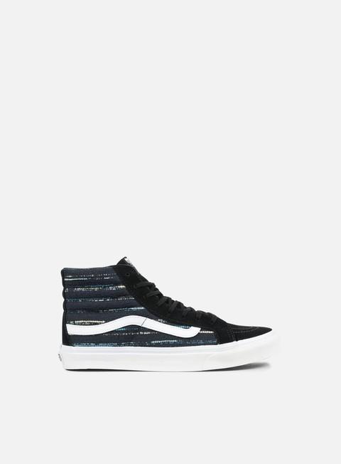 sneakers vans wmns sk8 hi slim italian weave black multi