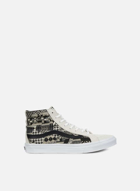 sneakers vans wmns sk8 hi slim italian weave white black