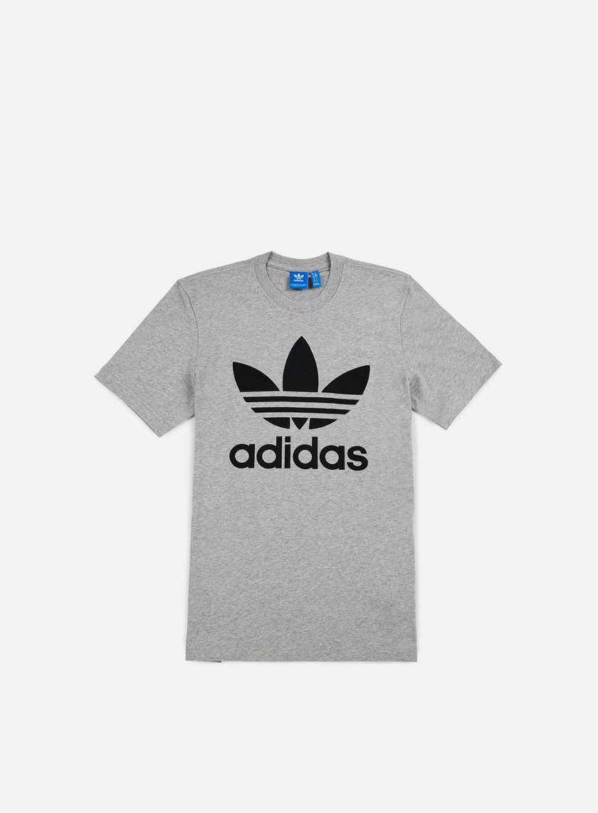 Adidas originals original trefoil t shirt medium grey for Adidas long sleeve t shirt with trefoil logo