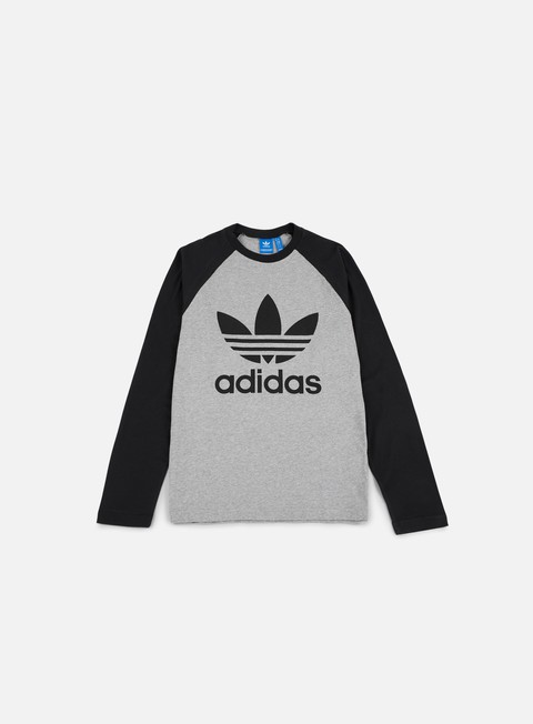 t shirt adidas originals trefoil ls t shirt medium grey heather black