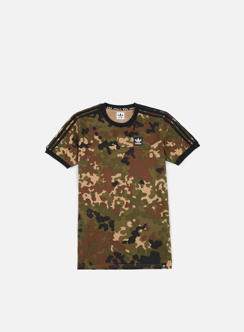Adidas Skateboarding - Striped Camo T-shirt, Camo Print/Black