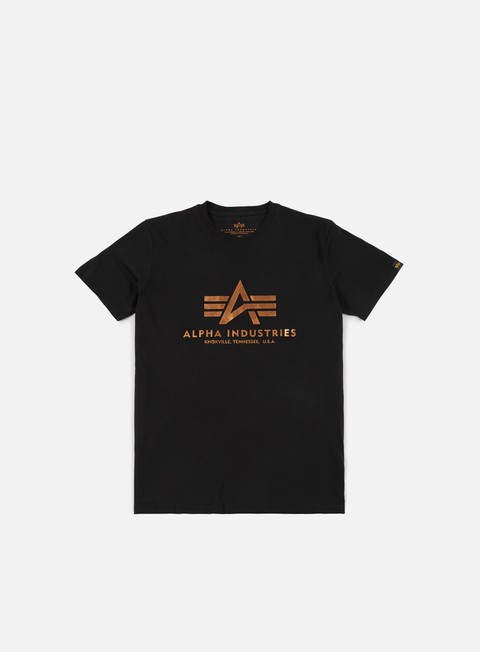 t shirt alpha industries basic t shirt black gold