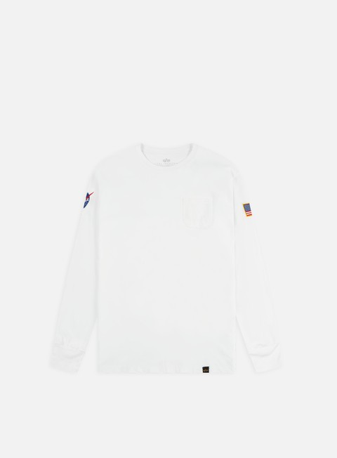 t shirt alpha industries nasa ls t shirt white