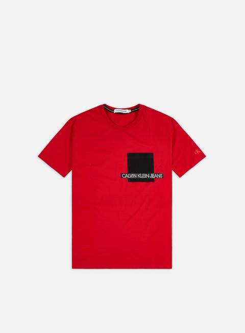 Outlet e Saldi T-shirt a Manica Corta Calvin Klein Jeans Institutional Contrast Pocket T-shirt