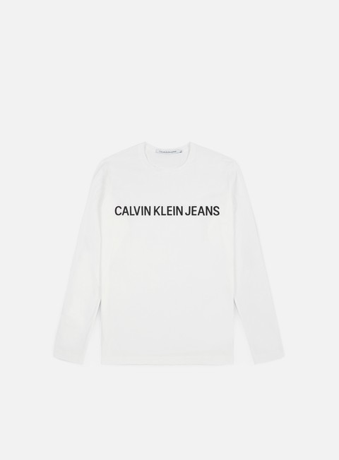 t shirt calvin klein jeans institutional ls t shirt bright white