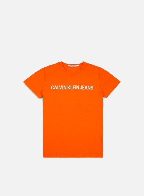 t shirt calvin klein jeans institutional slim logo t shirt orange tiger