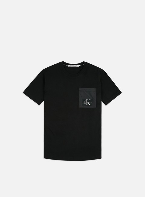 Logo T-shirts Calvin Klein Jeans Mixed Media Nylon Pocket T-shirt