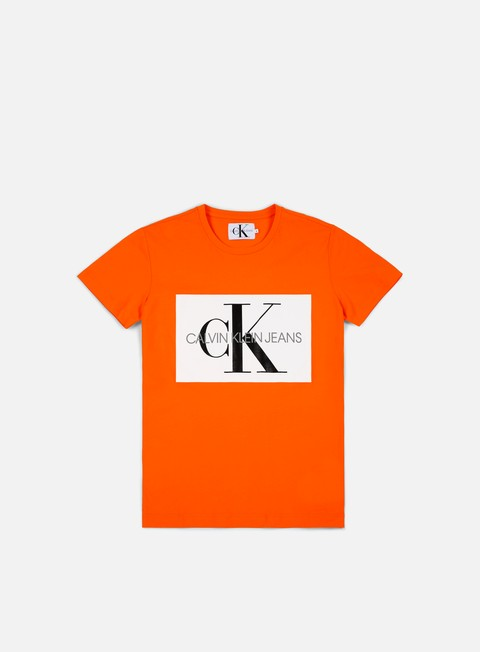 t shirt calvin klein jeans monogram box logo t shirt orange tiger