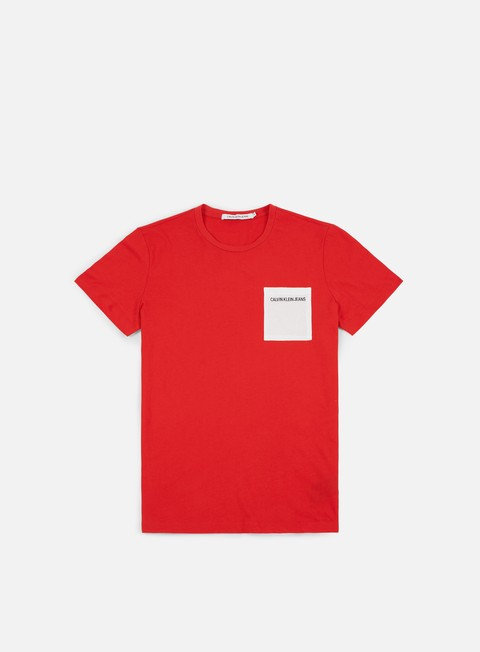 t shirt calvin klein jeans pocket institutional t shirt tomato