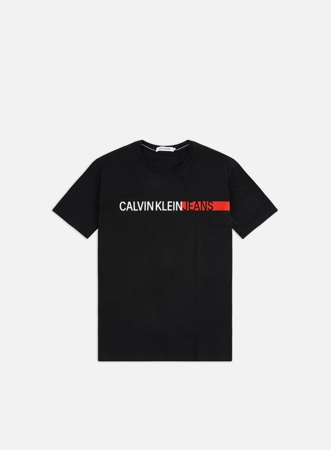 Short Sleeve T-shirts Calvin Klein Jeans Stripe Institutional Logo T-shirt