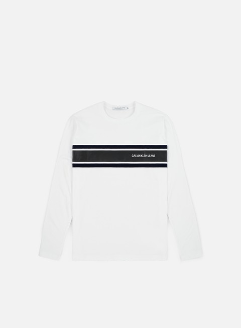 t shirt calvin klein jeans stripe ls t shirt bright white night sky