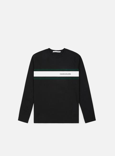 t shirt calvin klein jeans stripe ls t shirt ck black