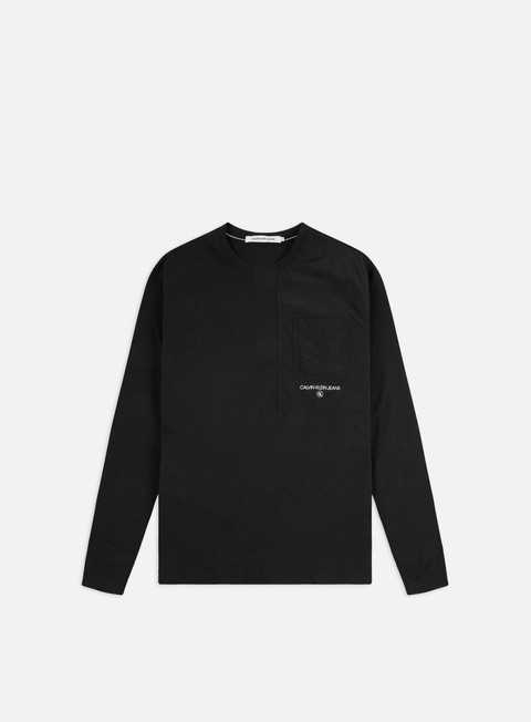 Long Sleeve T-shirts Calvin Klein Jeans Woven Utility Pocket LS T-shirt