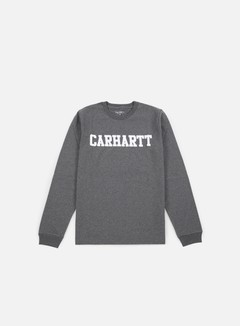 Carhartt - College LS T-shirt, Dark Grey Heather/White