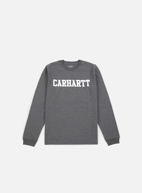 t shirt carhartt college ls t shirt dark grey heather white