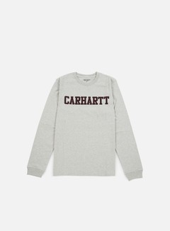 Carhartt - College LS T-shirt, Snow Heather/Chianti